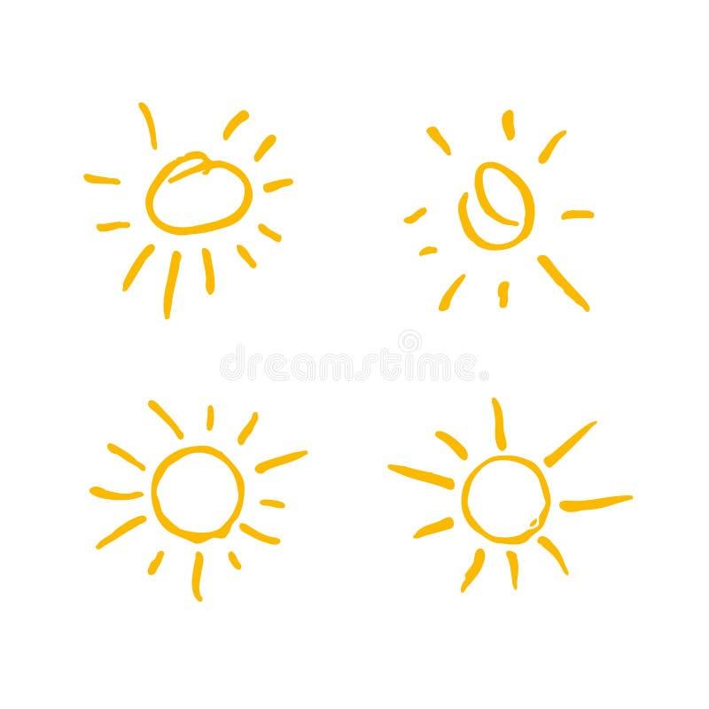 四被绘的太阳 传染媒介太阳符号集 皇族释放例证