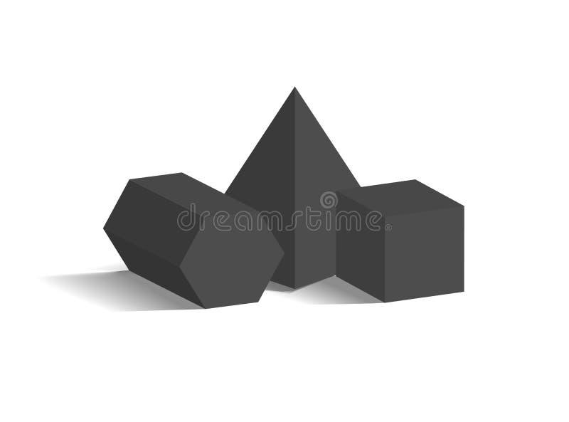 四角锥五角形棱镜立方体3D形状 向量例证