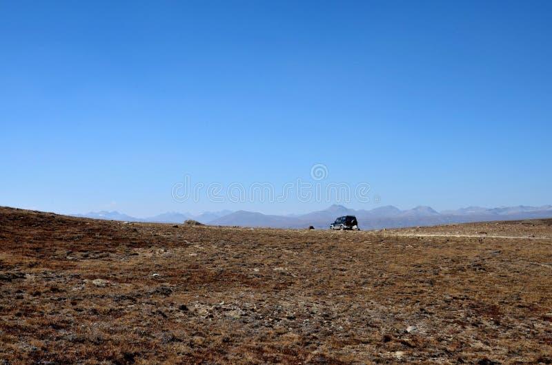 四轮驱动的吉普停放了在Deosai平原斯卡都北巴基斯坦 免版税图库摄影
