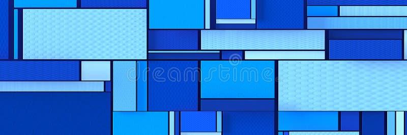 四边形的抽象背景在蓝色,全景的 向量例证