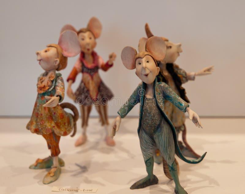 四重唱唱歌老鼠玩偶 库存照片