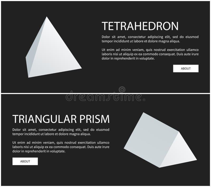 四面体和三棱柱几何形象 库存例证