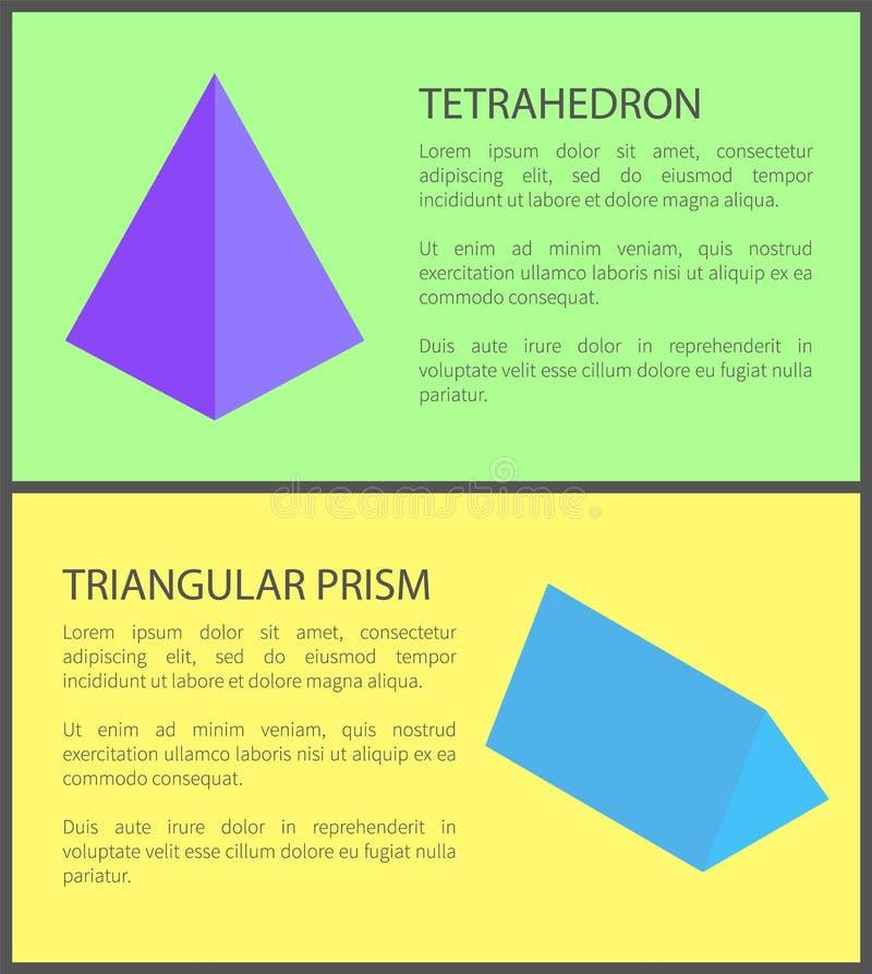 四面体和三棱柱,五颜六色的横幅 皇族释放例证