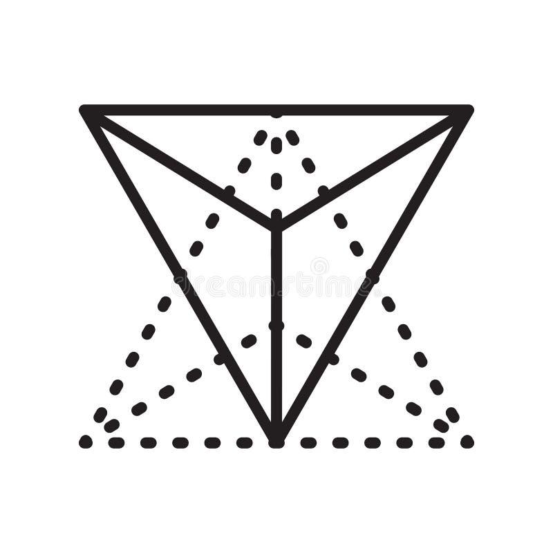 四面体象在白色backgr和标志隔绝的传染媒介标志 库存例证