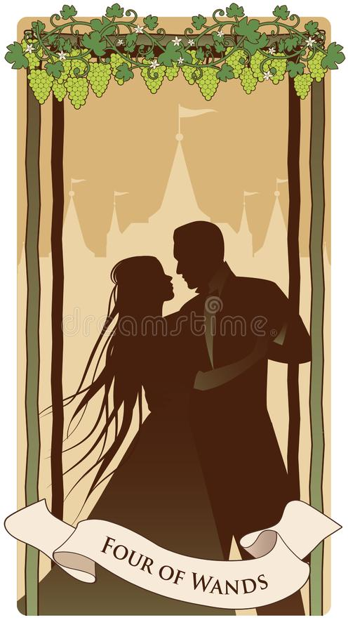 四鞭子 ??tarot 年轻夫妇跳舞剪影在葡萄树下的在四根棍子 宫殿在背景中 向量例证