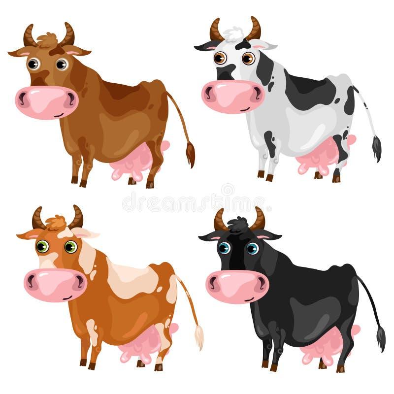 四头被察觉的动画片母牛,传染媒介动物 库存例证