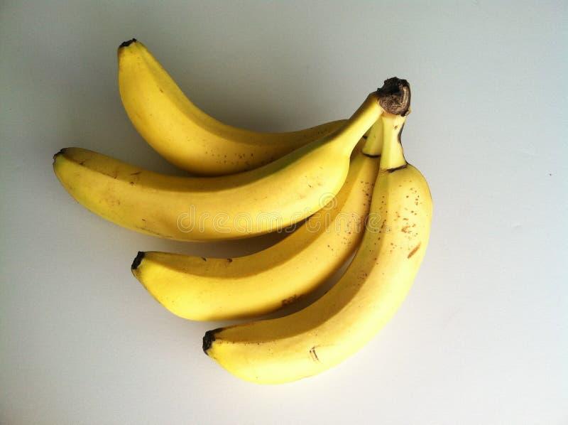 四riped在白色bakground的黄色香蕉 库存照片