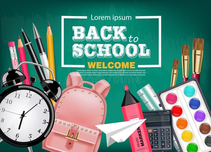 回到与书包的学校卡片,闹钟、铅笔和其他工具导航现实 粉笔板背景 向量例证