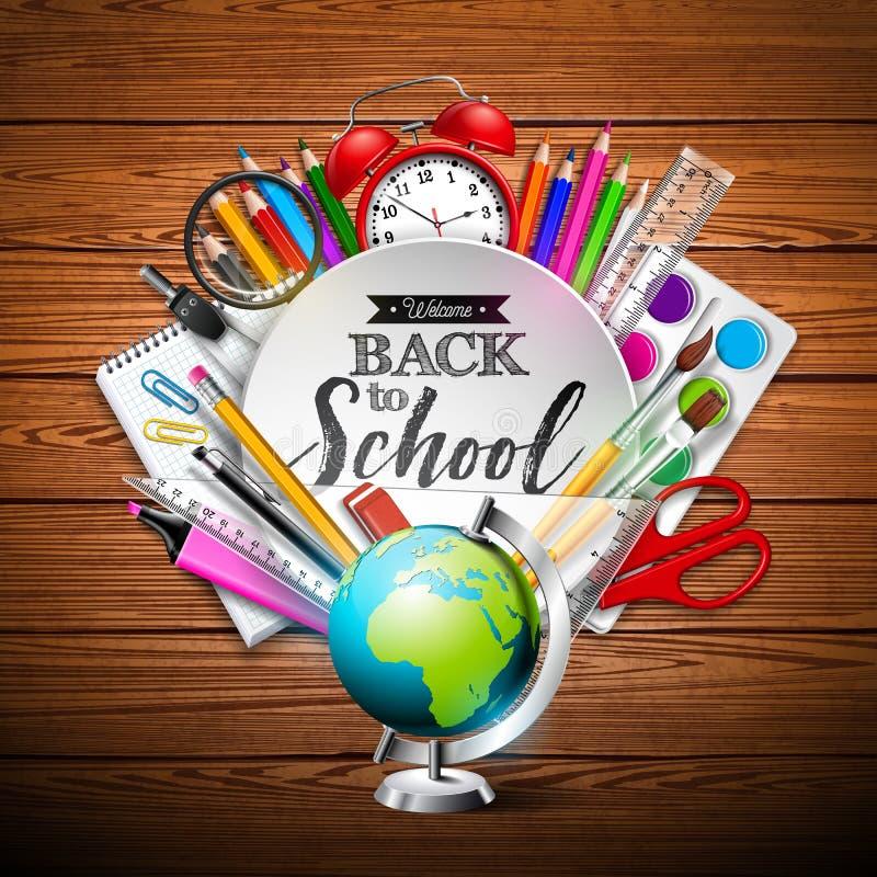 回到与五颜六色的铅笔、橡皮擦和其他学校项目的学校设计在木纹理背景 向量 皇族释放例证