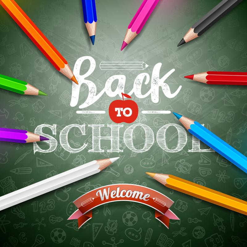 回到与五颜六色的铅笔和印刷术字法的学校设计在绿色黑板背景 传染媒介教育 向量例证