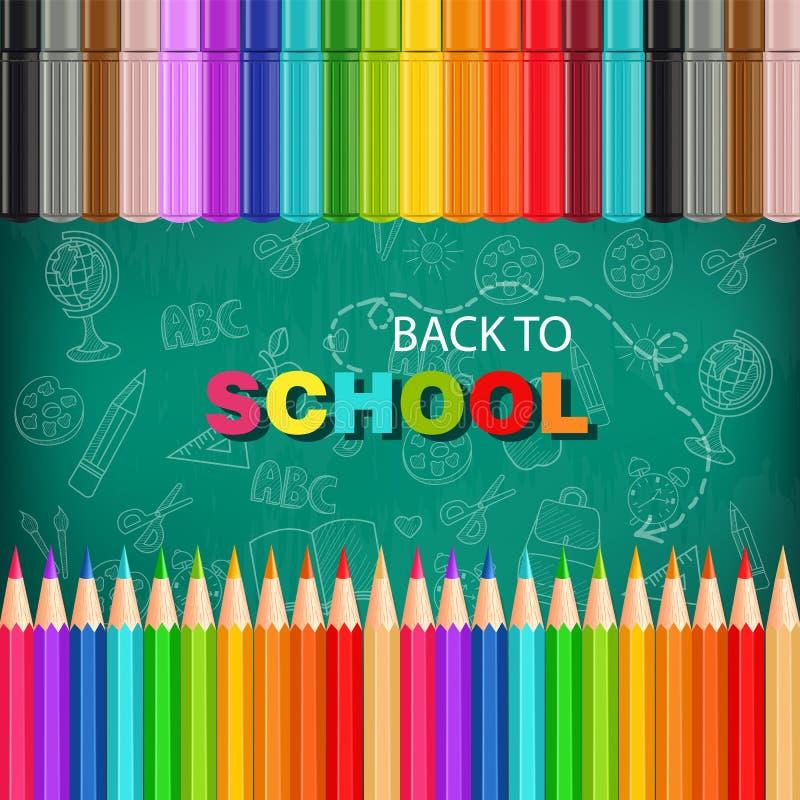 回到与五颜六色的铅笔和标志的学校卡片导航现实 粉笔板背景 库存例证