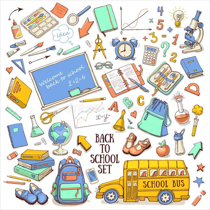 回到与供应的学校颜色概略集合, schoolbus,背包,黑板,地球 库存例证
