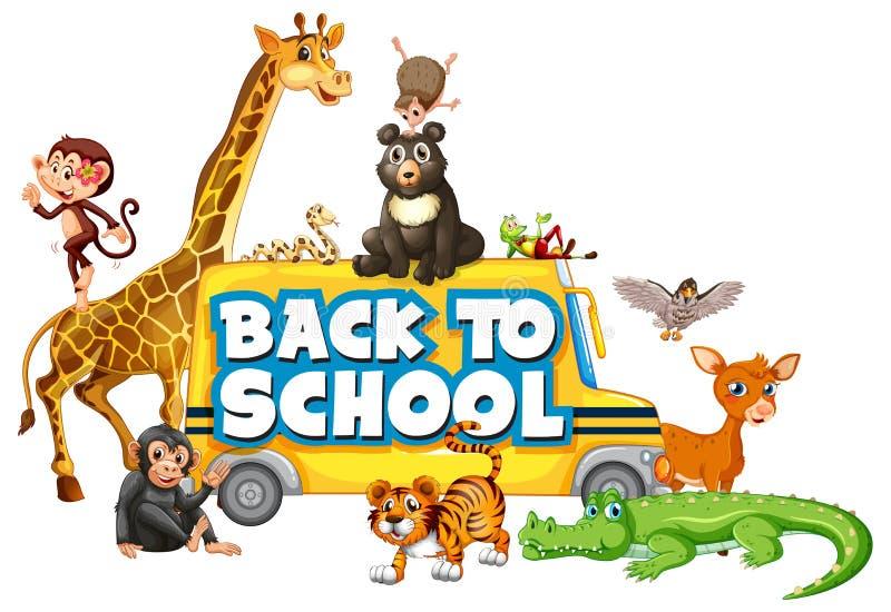 回到与动物的学校模板 皇族释放例证