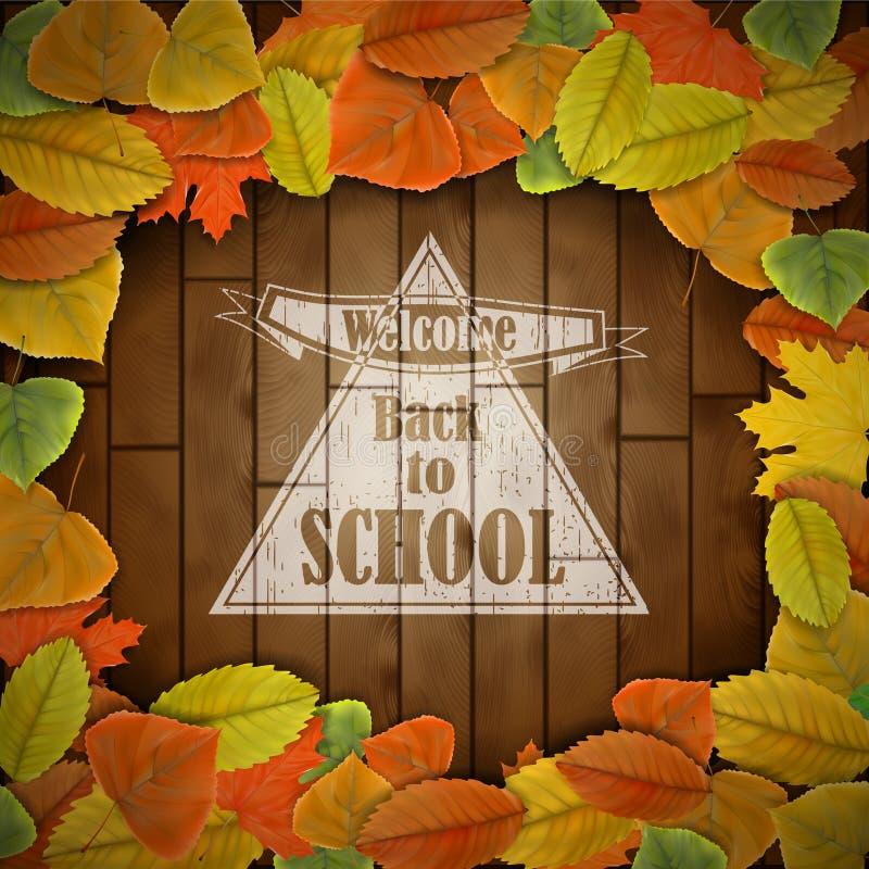 回到与叶子的学校木板 库存照片