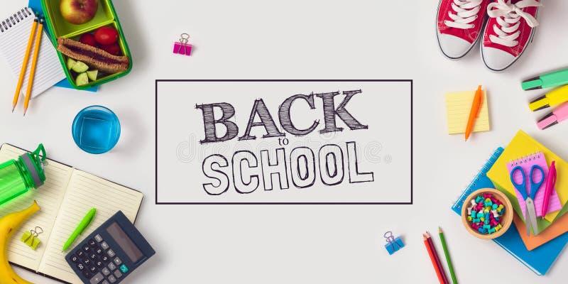 回到与学校用品的学校概念 图库摄影
