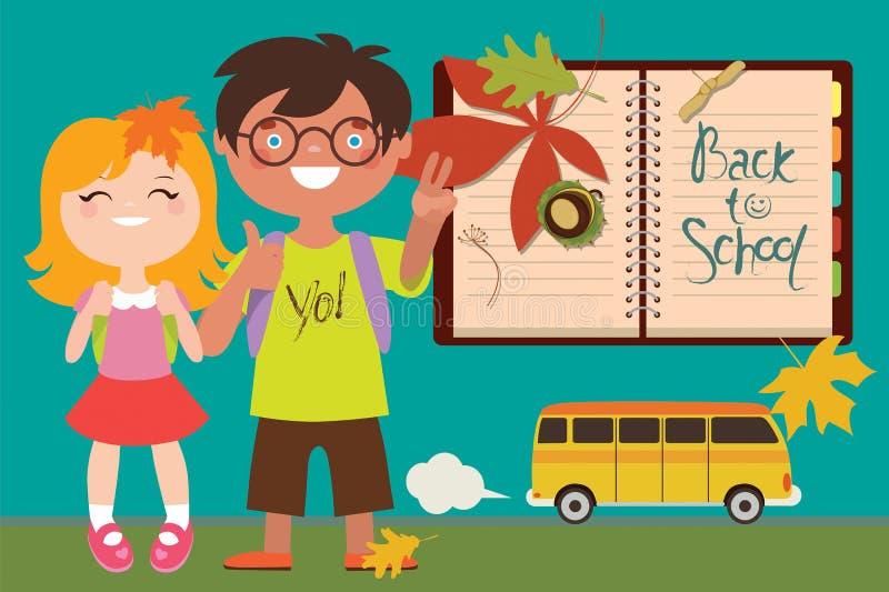 回到与孩子和公共汽车的学校例证 向量例证