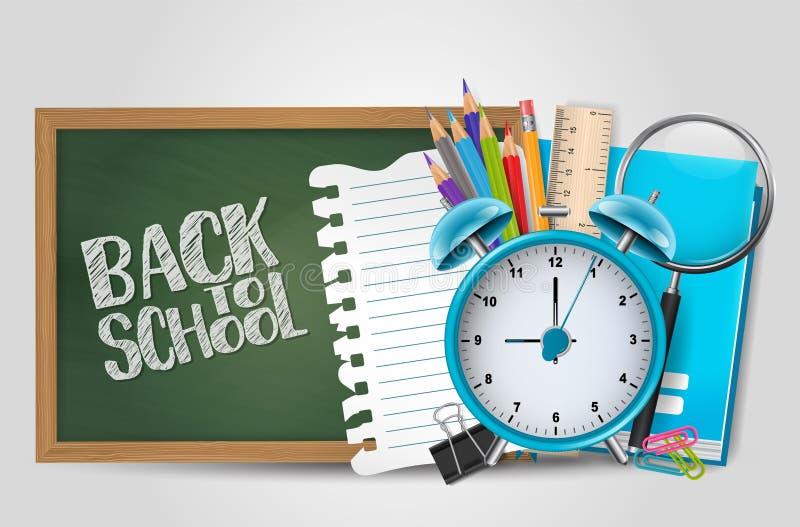 回到与现实3d供应的学校海报 对幼儿园,中部,上流,拼贴画,大学 ?? 库存例证