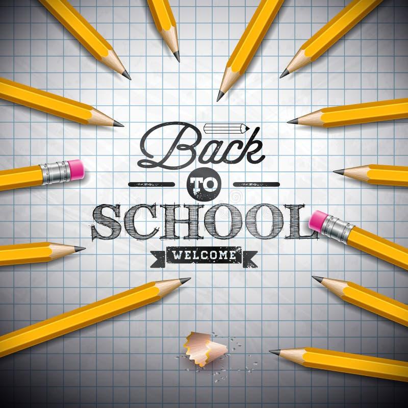 回到与石墨铅笔的学校设计和在笔记本背景的印刷术字法 传染媒介例证为 向量例证