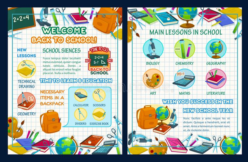 回到与科学infographics的学校海报 库存例证