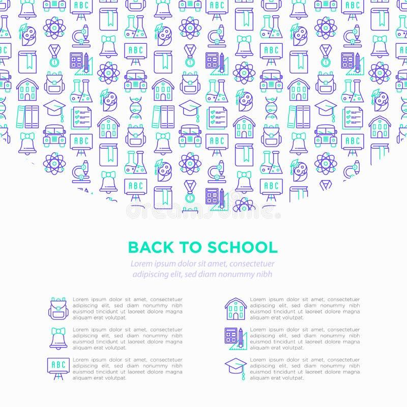 回到与稀薄的线象的学校概念:背包,响铃,书,显微镜,知识,猫头鹰,毕业盖帽,公共汽车,化学, 皇族释放例证