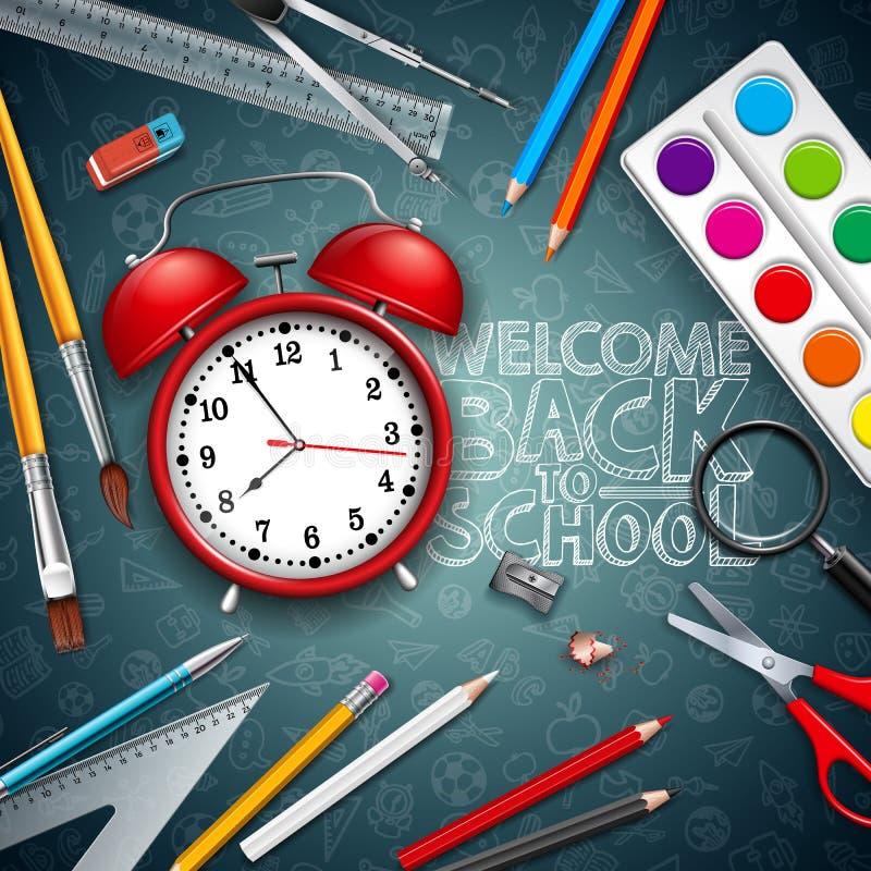 回到与红色闹钟的学校在黑黑板背景的设计和印刷术 传染媒介例证与 库存例证
