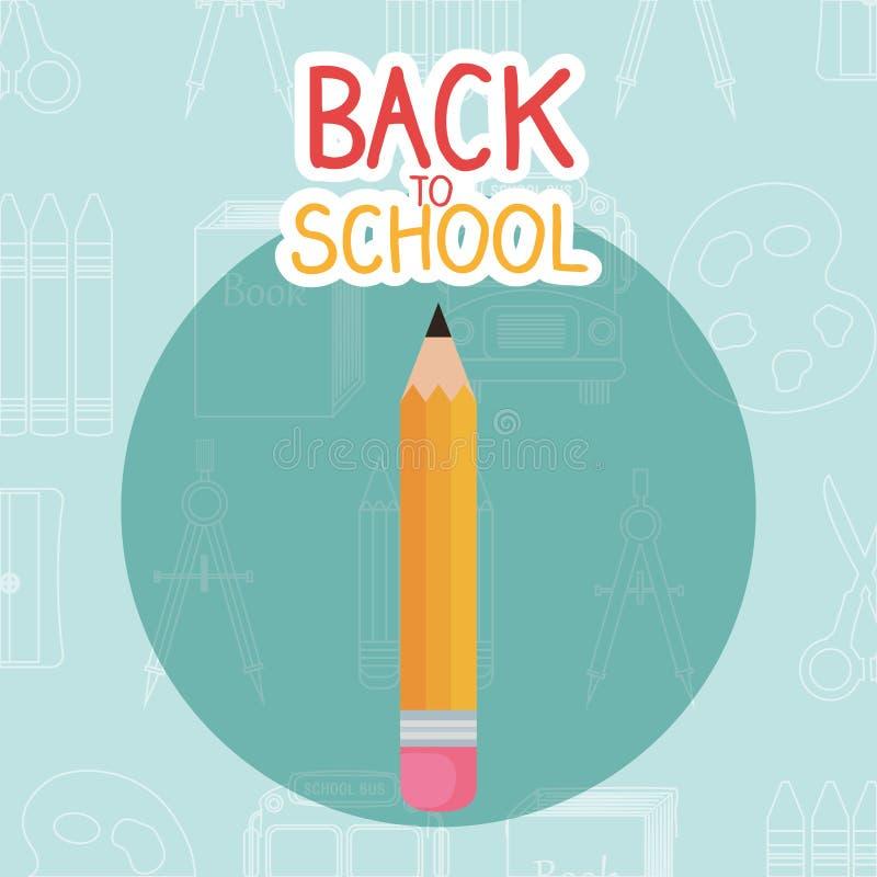 回到与铅笔的学校标签 库存例证