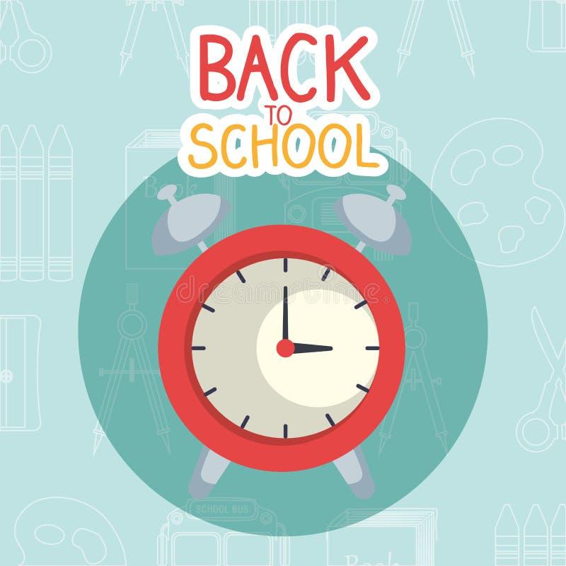 回到与闹钟的学校标签 皇族释放例证