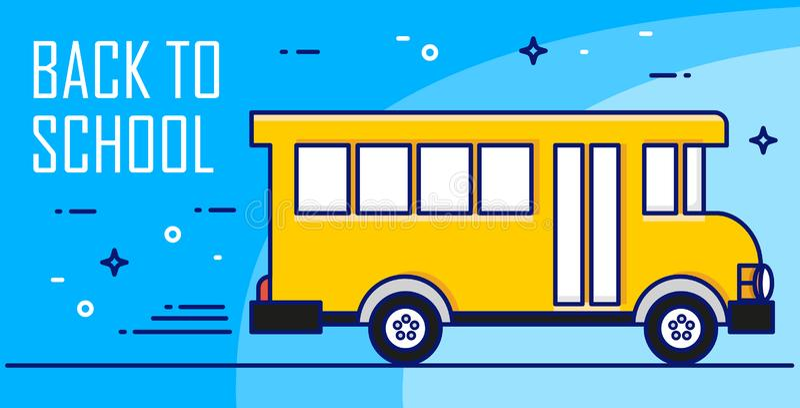 回到与黄色公共汽车的学校卡片在蓝色背景 稀薄的线平的设计 横幅eps10文件层状向量 库存例证