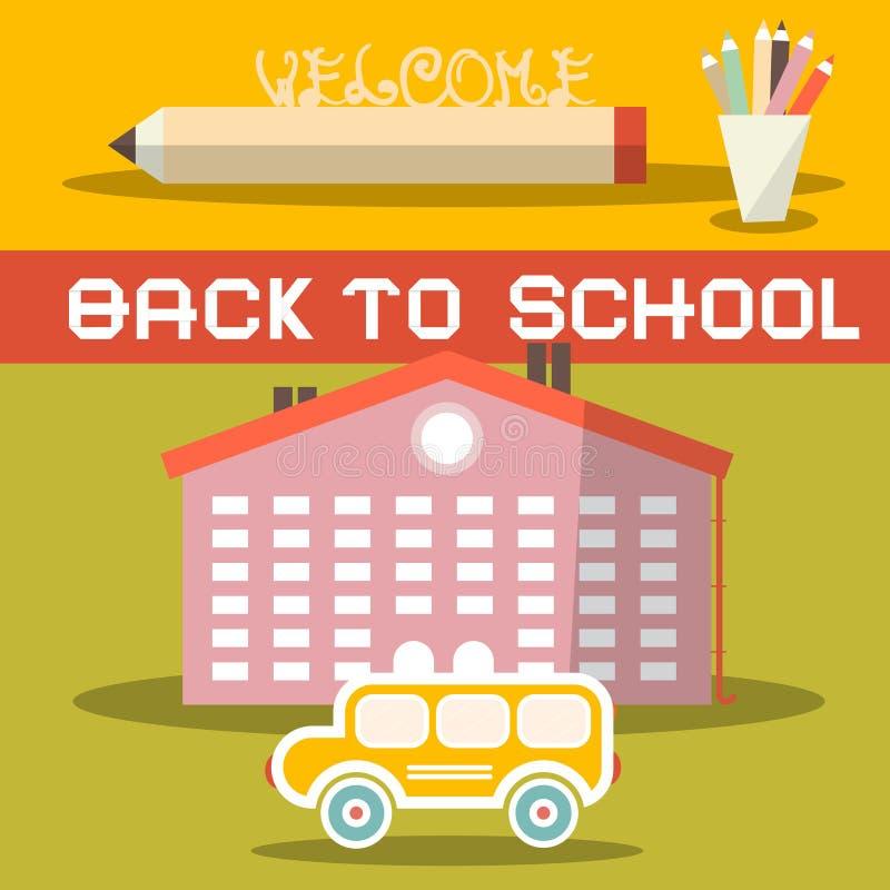 回到与黄色公共汽车的学校标题 库存例证