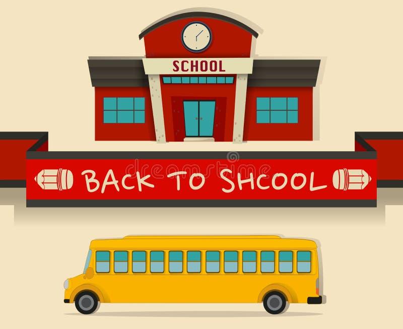 回到与schoolbus的学校题材 向量例证