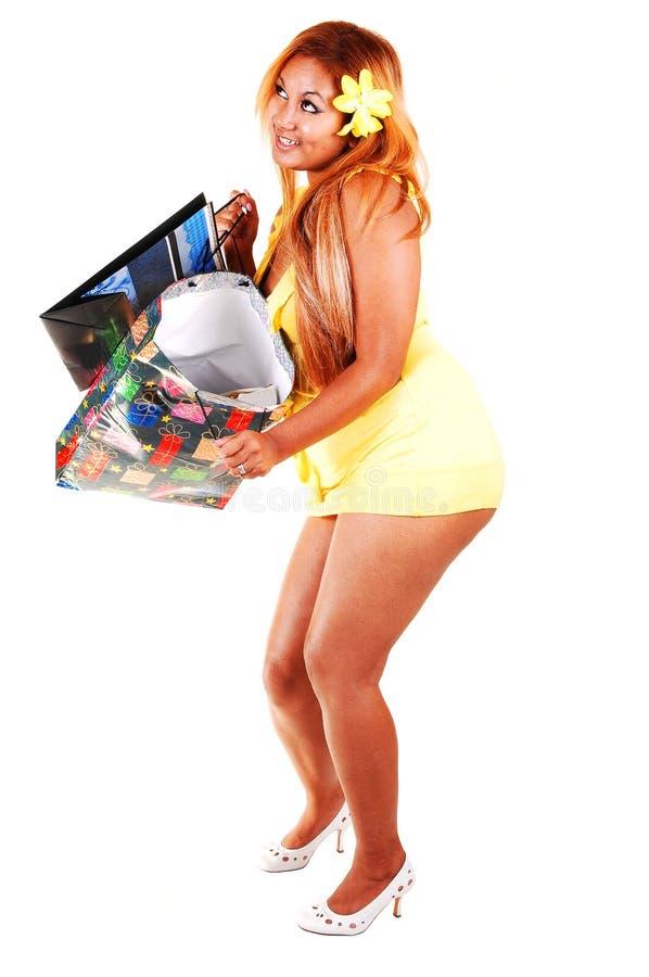 回到以后的女孩购物 免版税库存照片
