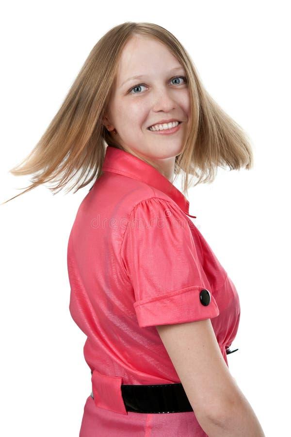 回到启用的礼服女孩红色微笑 库存照片