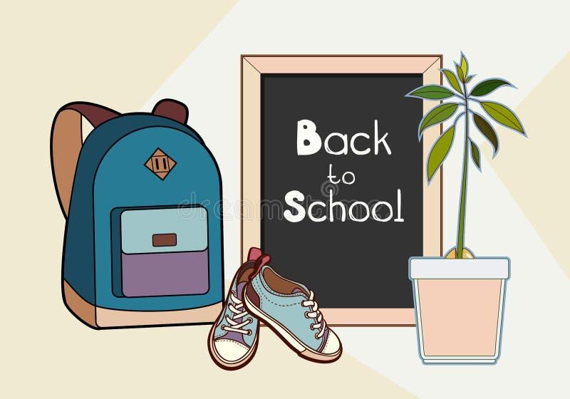回到在传染媒介例证上写字的学校 背包、黑板、运动鞋和绿色植物传染媒介隔绝了集合 皇族释放例证