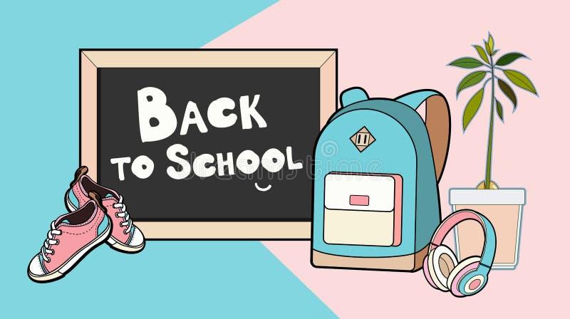 回到在传染媒介例证上写字的学校 背包、黑板、运动鞋和耳机导航被隔绝的集合 向量例证