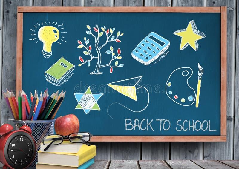 回到在黑板的学校教育图画学校的 库存图片