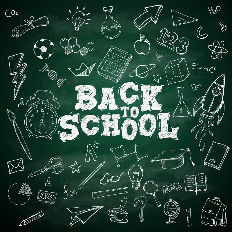 回到在黑板的学校课文学校固定式乱画 库存例证