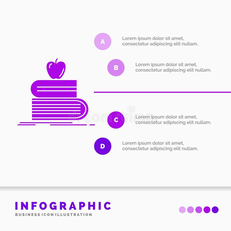 回到学校、学校、学生、书、苹果Infographics模板网站的和介绍 r 向量例证