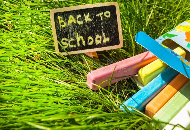 回到学校、题字在迷你委员会,委员会的布局和白垩在绿草,概念  库存图片