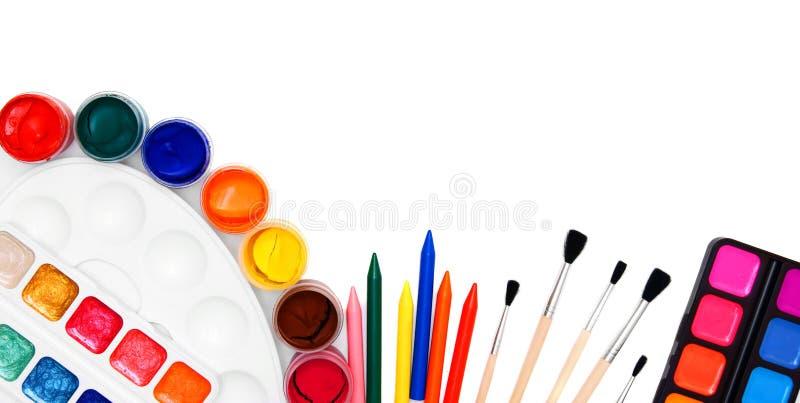 回到学校。 为图画的工具。 库存照片
