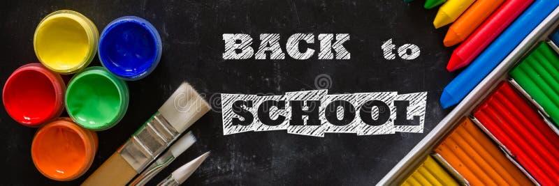 回到学校与固定式的背景概念 免版税库存照片