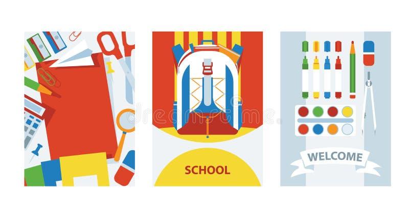 回到学校与学校用品集合的卡片背景,例证 有项目的背包学习的 艺术课 向量例证