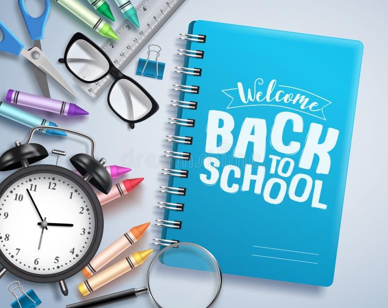回到学校与欢迎的传染媒介设计回到在笔记本写的学校招呼的文本 向量例证