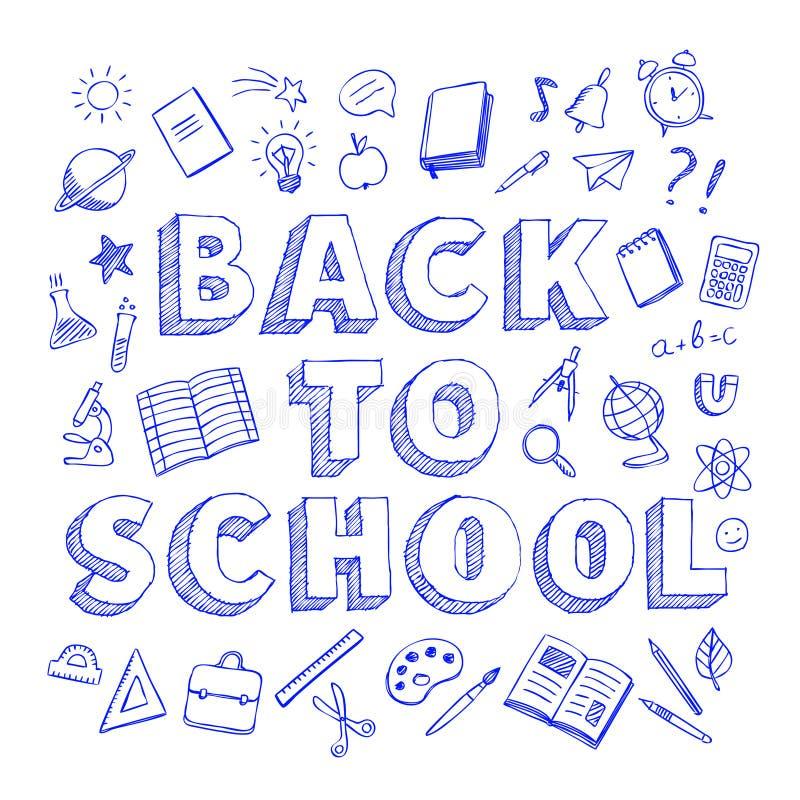 回到学校与蓝色笔的海报乱画在白色背景的样式 库存例证