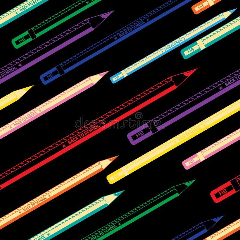 回到学校五颜六色的无缝的铅笔样式 皇族释放例证