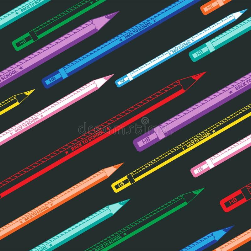 回到学校五颜六色的无缝的铅笔样式 库存例证