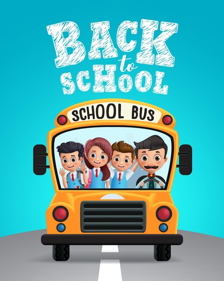 回到学校传染媒介设计 有学校孩子学生的学校班车 向量例证