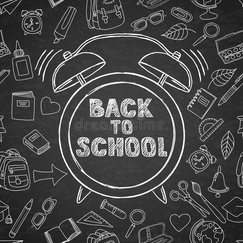 回到学校传染媒介剪影字法和手拉的水彩闹钟 黑委员会背景 库存例证