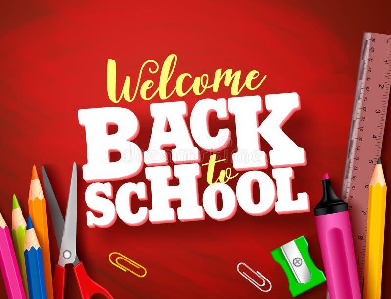 回到学校传染媒介横幅设计在红色纹理背景中 库存例证