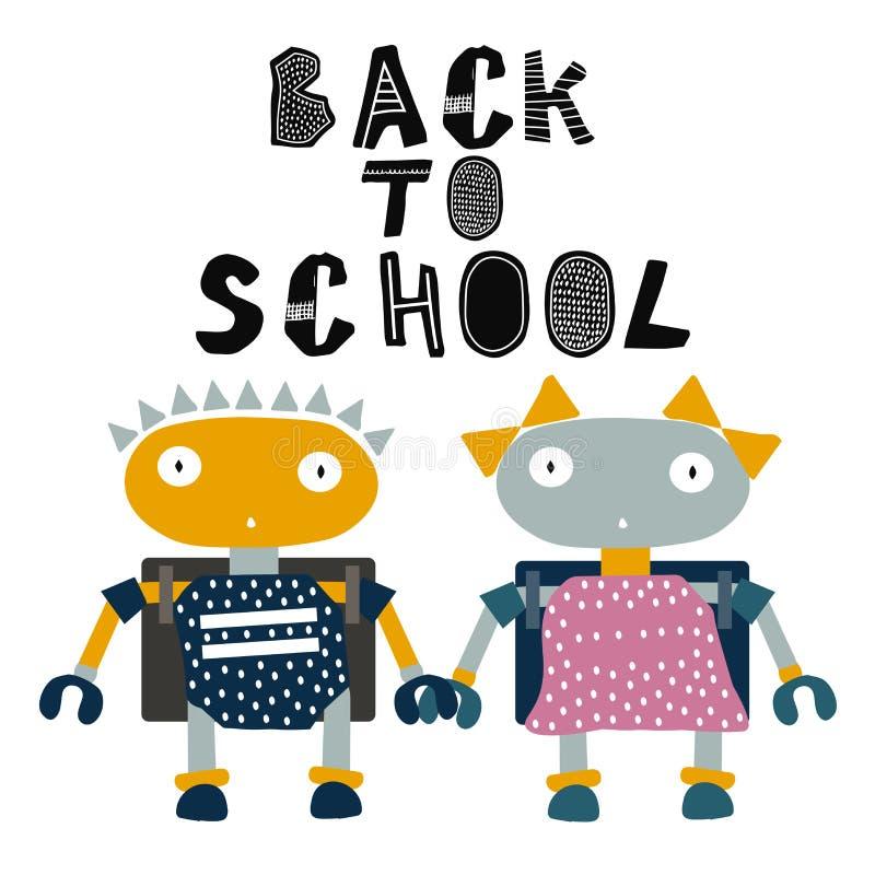 回到学校例证的孩子机器人 动画片同学 手拉的样式 库存例证