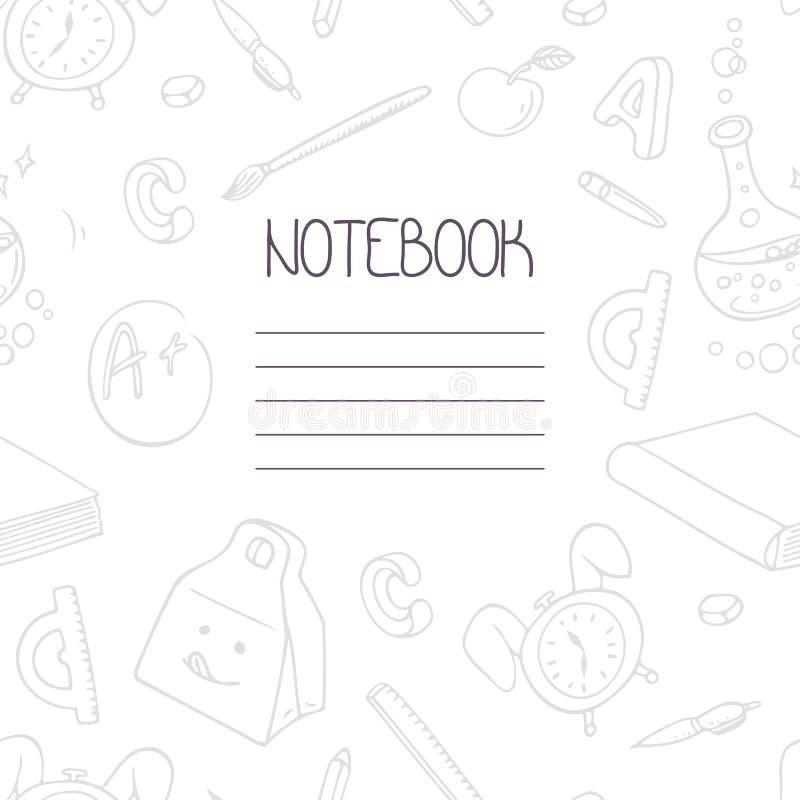 回到学校单色乱画笔记本设计和手字法标志 在样片包括的学校用品无缝的样式 向量例证